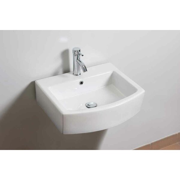 Ceramic Rectangular Bathroom Sink with Faucet and Overflow by American Imaginations