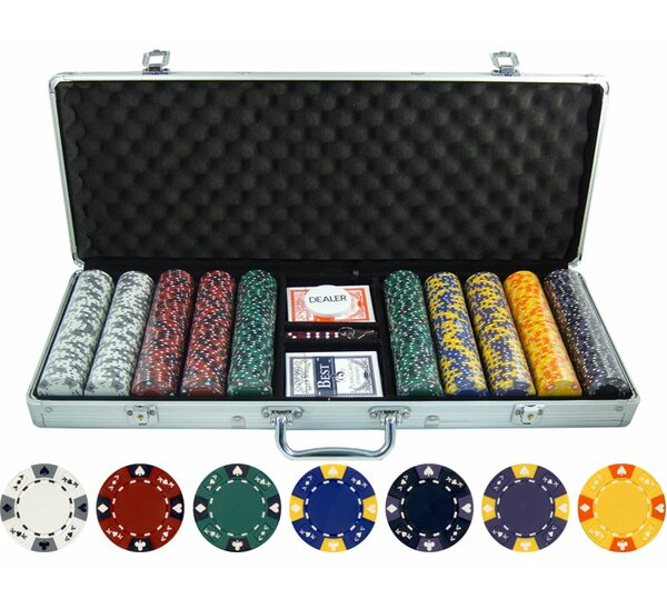 500 Piece Ace King Tricolor Clay Poker Chip by JP Commerce