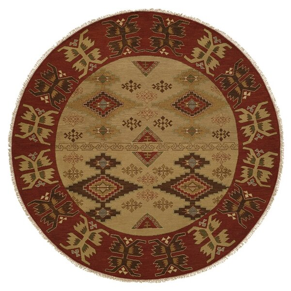 Yingkou Ikat Hand-Knotted Brown/Red Area Rug