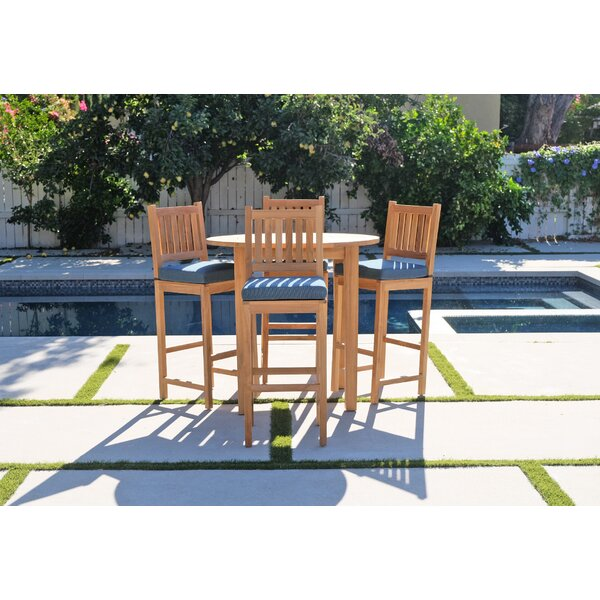Crescio 5 Piece Teak Bar Set by Foundry Select