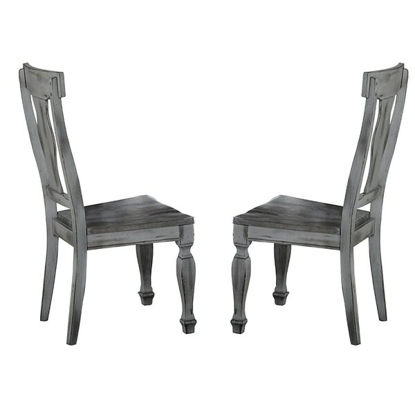 Block Solid Wood Dining Chair (Set of 2) by Alcott Hill