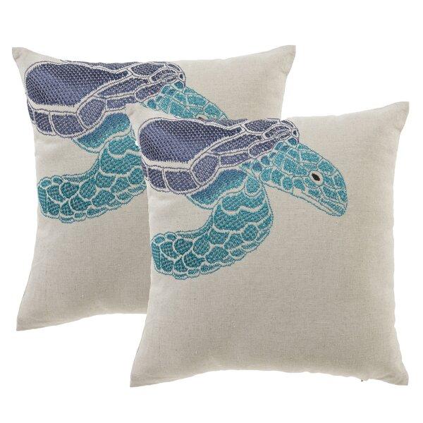 Sea Turtle Throw Pillow (Set of 2) by 14 Karat Home Inc.
