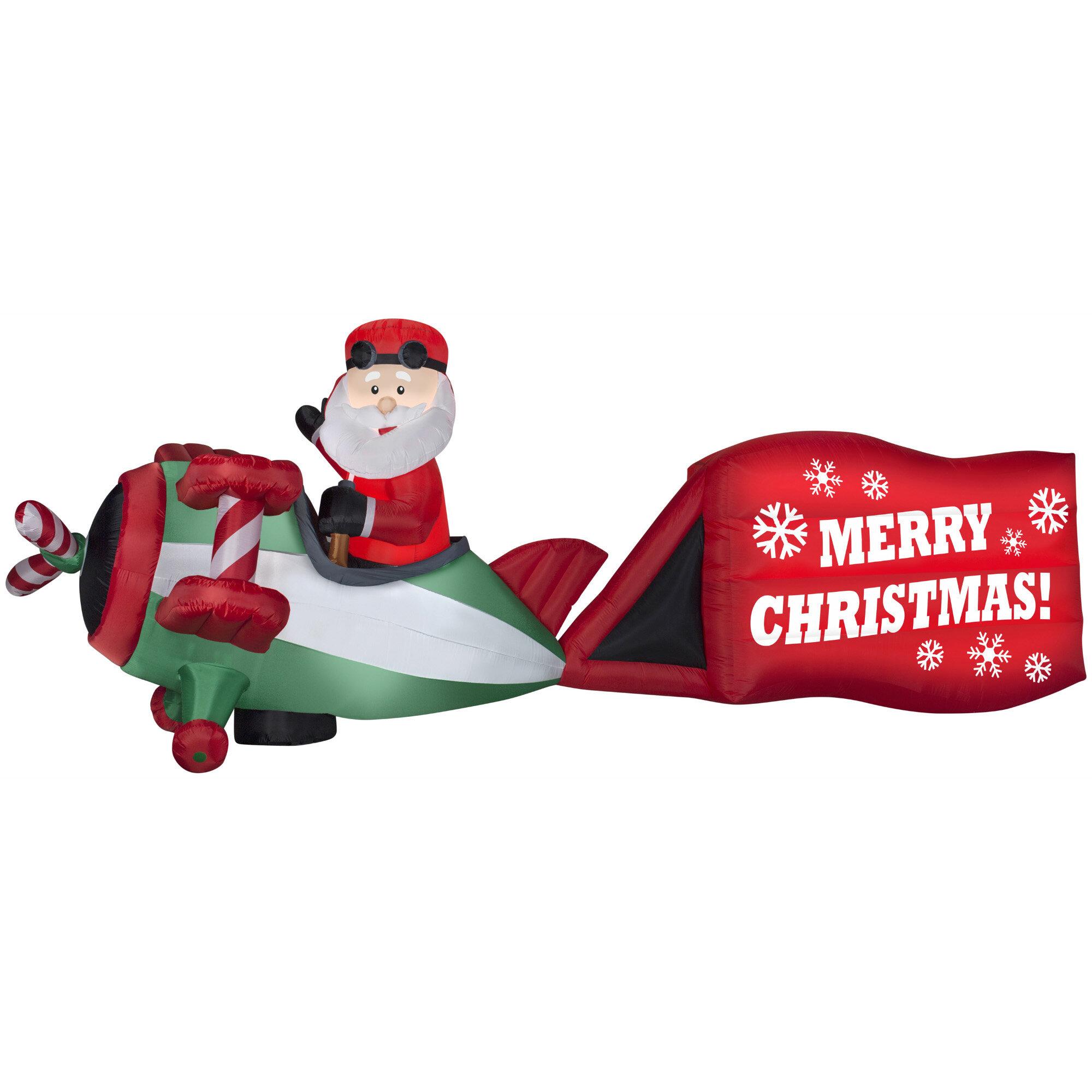 Christmas Inflatable.Santa On Airplane With Sign Merry Christmas Inflatable