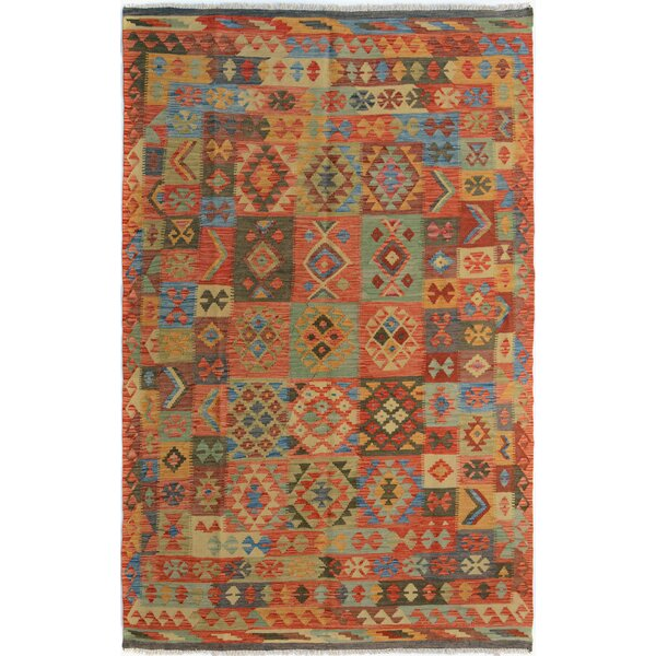 Rosalina Handmade-Kilim Wool Rectangle Red/Green Geometric Area Rug by Bloomsbury Market