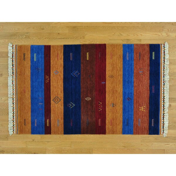 One-of-a-Kind Becker Striped Handwoven Blue/Red Wool Area Rug by Isabelline