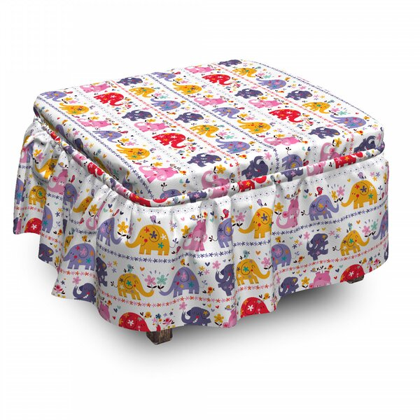 Elephant Dancing Floral Elephants 2 Piece Box Cushion Ottoman Slipcover Set By East Urban Home