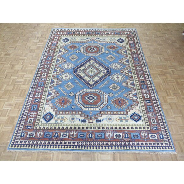 One-of-a-Kind Padula Tribal Hand-Knotted Wool Light Blue/Red Area Rug by Bloomsbury Market