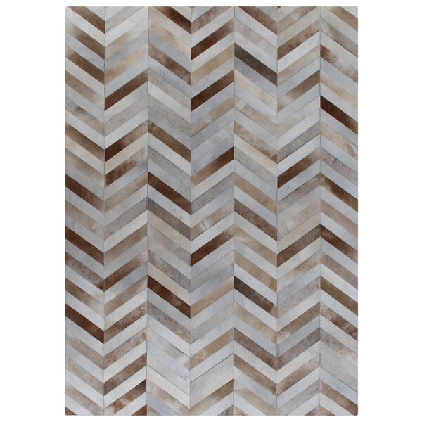 Natural Hide Hand-Woven White/Brown Area Rug by Exquisite Rugs