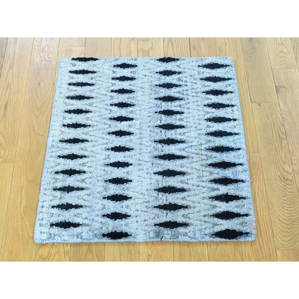 One-of-a-Kind Bourbeau Hand-Knotted Grey Wool Area Rug by Isabelline