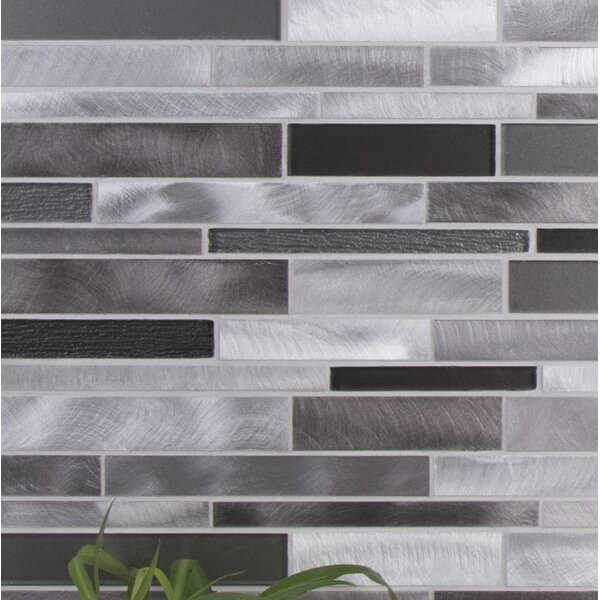 Twilight Random Sized Aluminum/Glass Tile in Gray