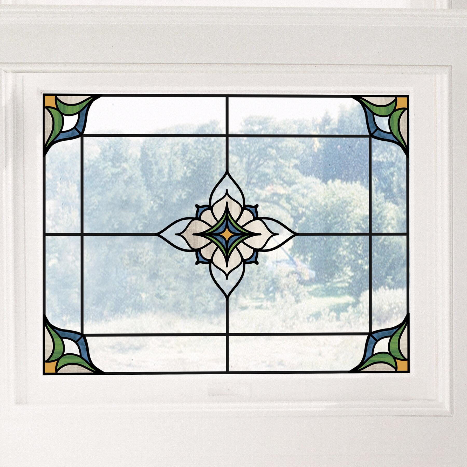 decorative glass block borders for a shower wall or windows.htm fleur de lis living stained glass window decal   reviews wayfair  fleur de lis living stained glass
