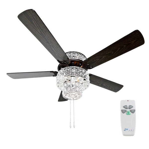 52 Tibuh Punched Metal Crystal 5 Blade Ceiling Fan with Remote by Orren Ellis