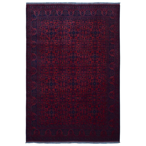 One-of-a-Kind Angoy Afghan Hand-Knotted Wool Red/Blue Area Rug by Bloomsbury Market