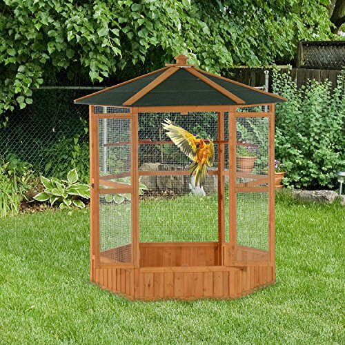 Fielding Outdoor Aviary Bird Cage Flight House with Covered Roof by Tucker Murphy Pet