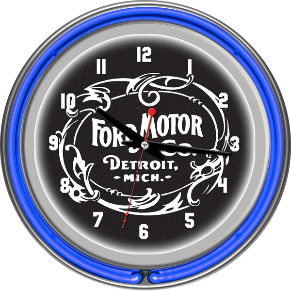 Vintage 1903 Ford Motor Co. 11 Double Rung Neon Clock by Trademark Global
