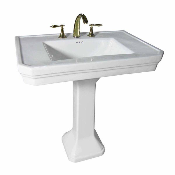 Dunkle Vitreous China 32 Pedestal Bathroom Sink with Overflow