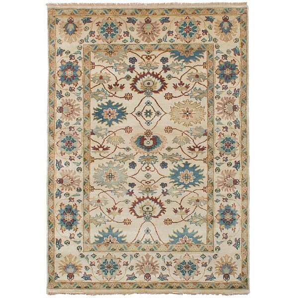One-of-a-Kind Bassford Wool Hand-Knotted Cream Area Rug by Darby Home Co