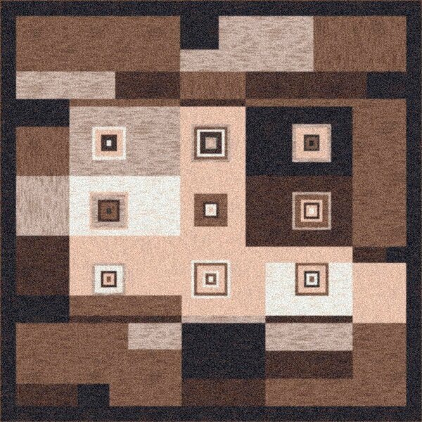 Pastiche Bloques Brown Leather Rug by Milliken