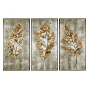 Leaves Modern 3 Piece Framed Painting Set by Darby Home Co
