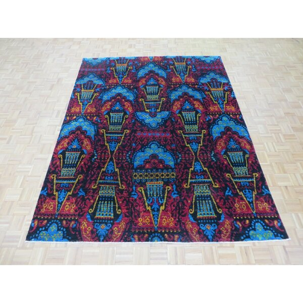 One-of-a-Kind Paez Ikat Hand-Knotted Wool Black Area Rug by Bloomsbury Market