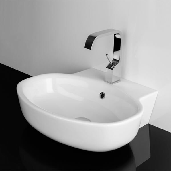 Quattro Ceramic 22 Wall Mount Bathroom Sink with Overflow by WS Bath Collections
