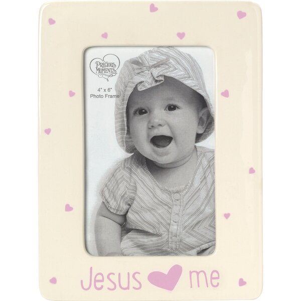 Baby Gifts Jesus Loves Me Ceramic Girl Picture Frame by Precious Moments