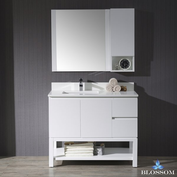 Maly Modern 42 Single Bathroom Vanity Set with Rectangular Mirror by Orren Ellis