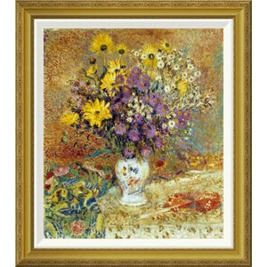 'A Vase of Flowers' by Georges Lemmen Framed Graphic Art by Global Gallery
