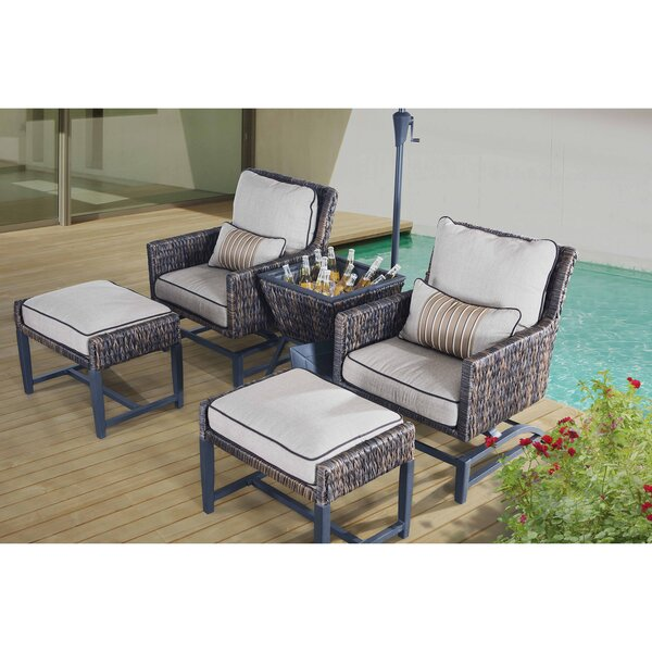 Falmouth 5 Piece Rattan Conversation Set with Cush