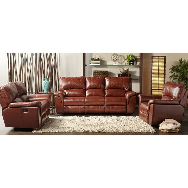 Albertus Reclining 3 Piece Leather Configurable Living Room Set by Loon Peak