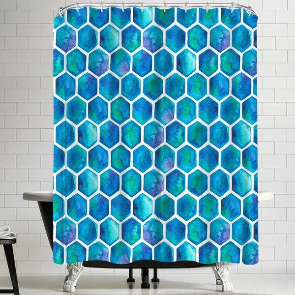 Elena Oneill Blue Hexagons Shower Curtain by East Urban Home