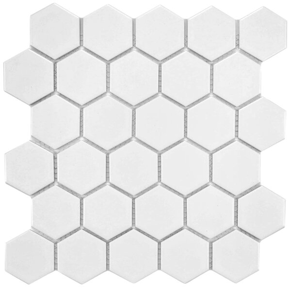 Retro Hexagon 2 X 2 Heporcelain Mosaic Tile In White By Elitetile.