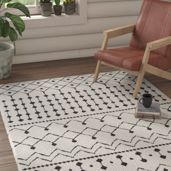 Rhodes Bohemian Rectangle Ivory/Black Area Rug by Union Rustic