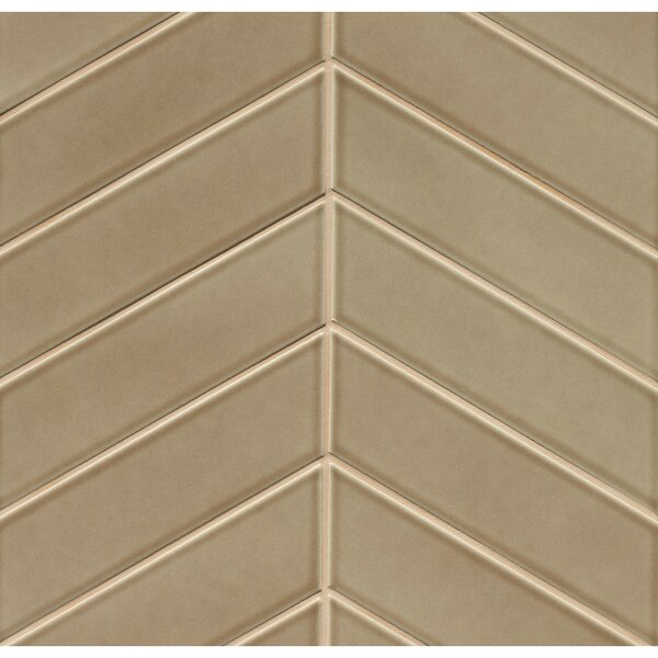 Park Place Chevron 2.57 x 9 Ceramic Field Tile in Brown by Grayson Martin