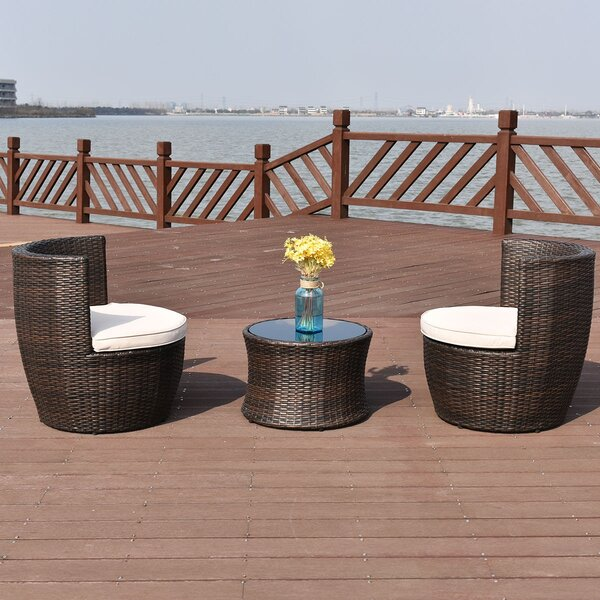 Efe Patio Rattan Stackable Furniture 3 Piece Seating Group with Cushions by Latitude Run