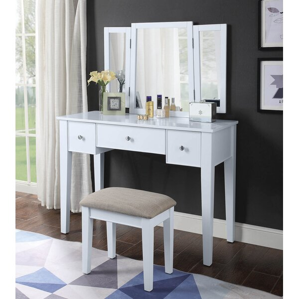 Rosston Vanity Set with Stool and Mirror by Red Barrel Studio