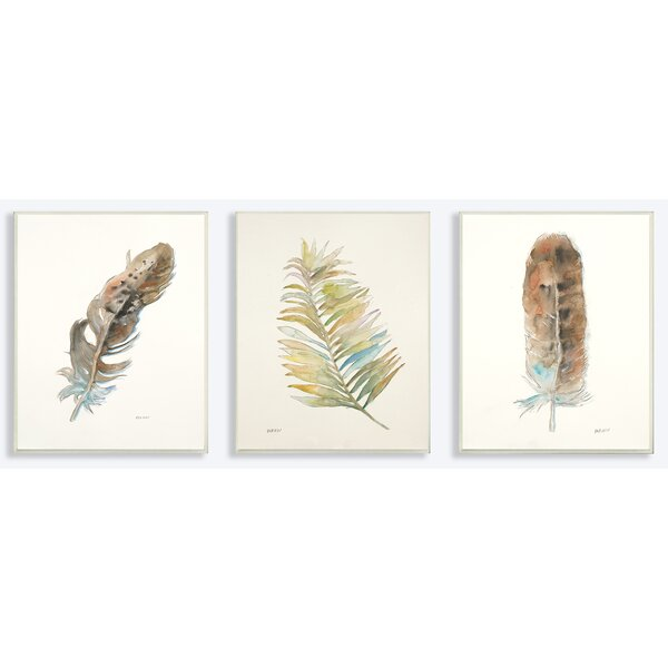 Watercolor Feather 3 Piece Photographic Print Set Wall Plaque by Stupell Industries