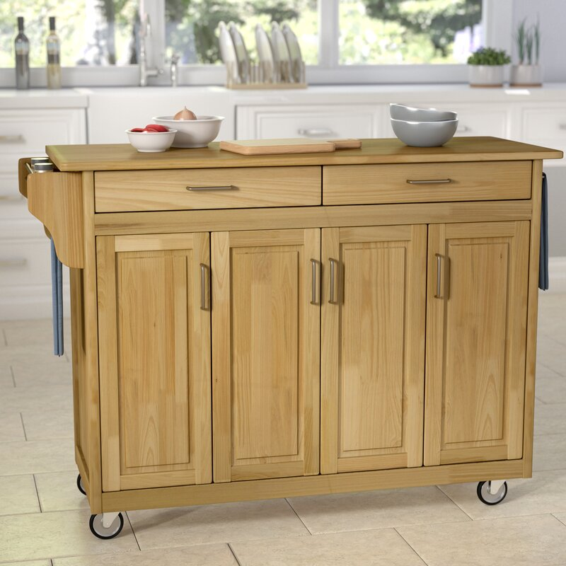 Elegant Regiene Kitchen Island With Natural Wood