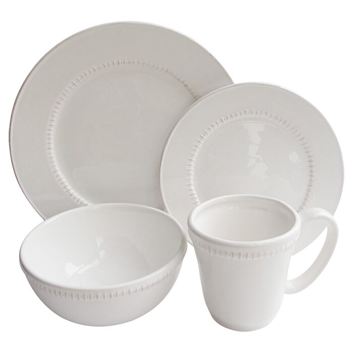 Carly Bead 16 Piece Dinnerware Set, Service for 4