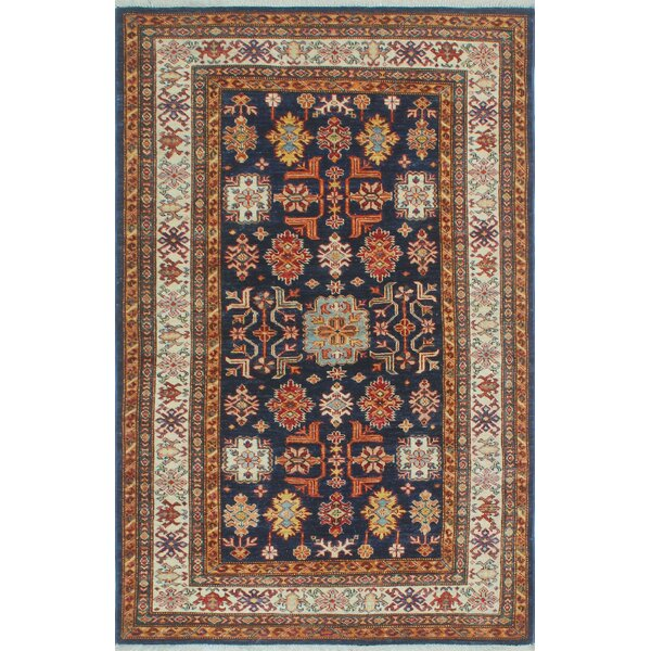 One-of-a-Kind Bronzewood Hand-Knotted Wool Blue Area Rug by Isabelline