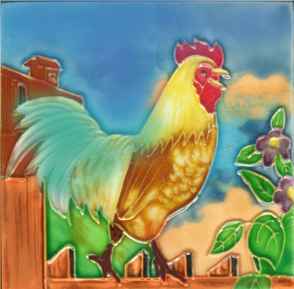 Rooster 3 Tile Wall Decor by Continental Art Center
