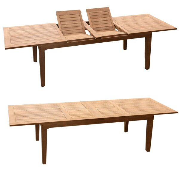 Kansas Extendable Teak Dining Table by Rosecliff Heights