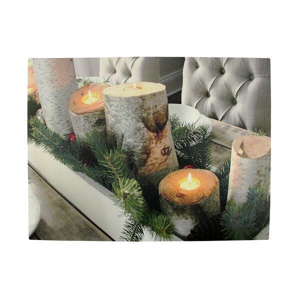 Lighted Rustic Lodge Dinner Candles Scene Photogra
