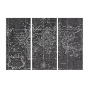 World Map 1778 Triptych 3 Piece Graphic Art on Wrapped Canvas Set by Trent Austin Design