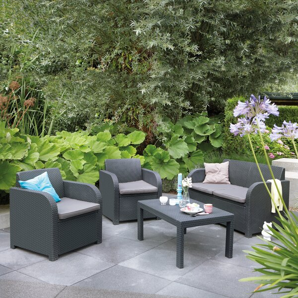 Sterner 4 Piece Sofa Seating Group with Cushions by Charlton Home