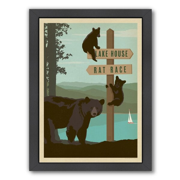 Lake Bear Sign Post Framed Vintage Advertisement by East Urban Home