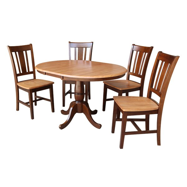 Ontiveros 5 Piece Extendable Solid Wood Dining Set by Alcott Hill