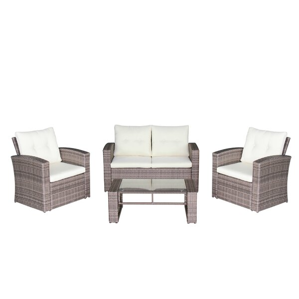 Govea 4 Piece Sofa Seating Group with Cushions by Ebern Designs