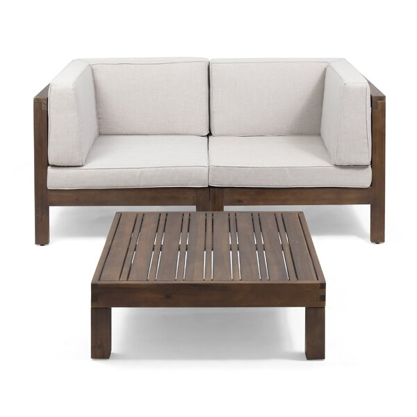 Pearson Outdoor Modular 3 Piece Sofa Seating Group with Cushions by Breakwater Bay Breakwater Bay