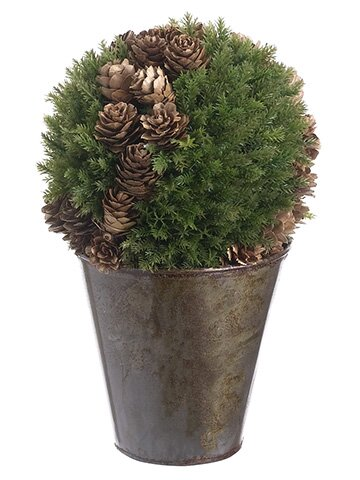Cedar and Cone Ball Topiary in Pot by The Holiday Aisle